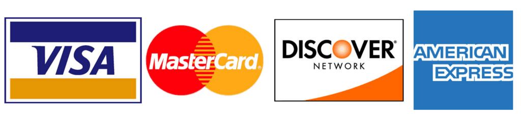 We accept Visa, Mastercard, Discover, and AMEX